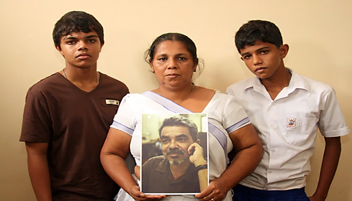 Sandya Eknaligoda wife of disappeared journalist Prageeth Eknaligoda with with their two sons Sathyajith Sanjaya and Harith Danajaya, Sri Lanka, 10 January 2011Prageeth Eknaligoda is a journalist who disappeared in January 2010 just before the Sri Lanka presidential election. He was known to be a government critic, and was also involved in the election campaign of the opposition candidate.