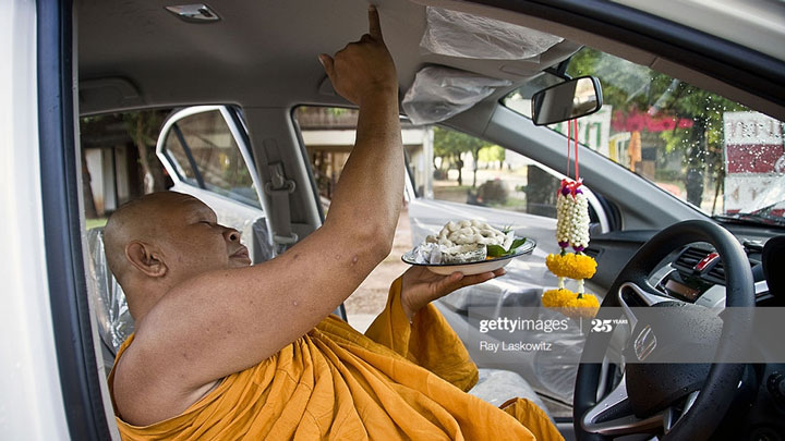 car with monk